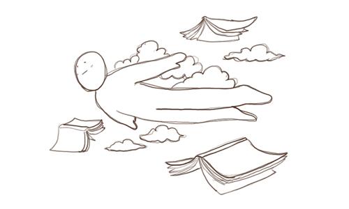 本と空と僕の画像